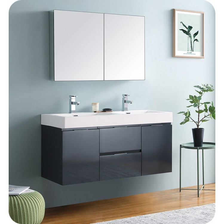 Awesome Fresca Fvn8348Gg D Valencia 48 Dark Slate Gray Wall Hung Double Sink Modern Bathroom Vanity With Medicine Cabinet Download Free Architecture Designs Xoliawazosbritishbridgeorg
