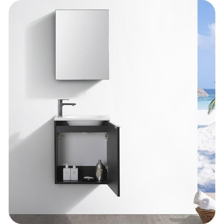 Fresca Fvn8003bw Valencia 20 Black Wall Hung Modern Bathroom Vanity With Medicine Cabinet