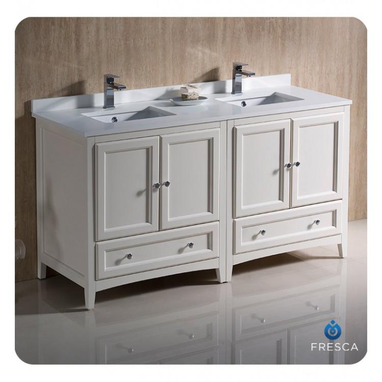 Fresca fcb20 3030aw cwh u oxford 60 antique white - Antique white double sink bathroom vanities ...