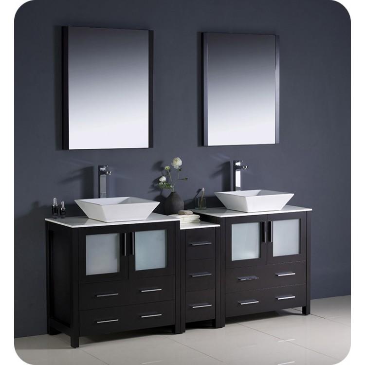 Prime Fresca Fvn62 301230Es Vsl Torino 72 Double Sink Modern Bathroom Vanity With Side Cabinet And Vessel Sinks In Espresso Download Free Architecture Designs Xoliawazosbritishbridgeorg