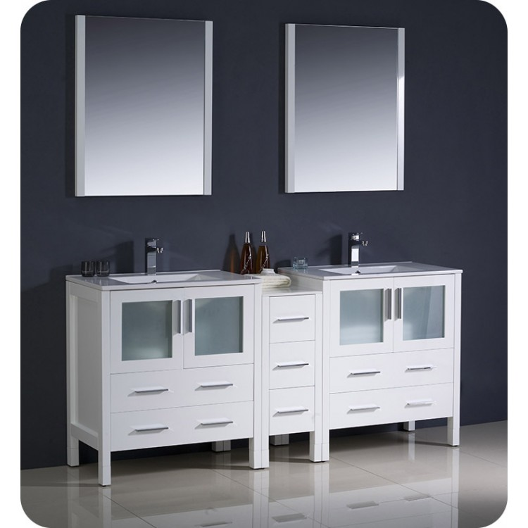 Astounding Fresca Fvn62 301230Wh Uns Torino 72 Double Sink Modern Bathroom Vanity With Side Cabinet And Integrated Sinks In White Home Interior And Landscaping Synyenasavecom