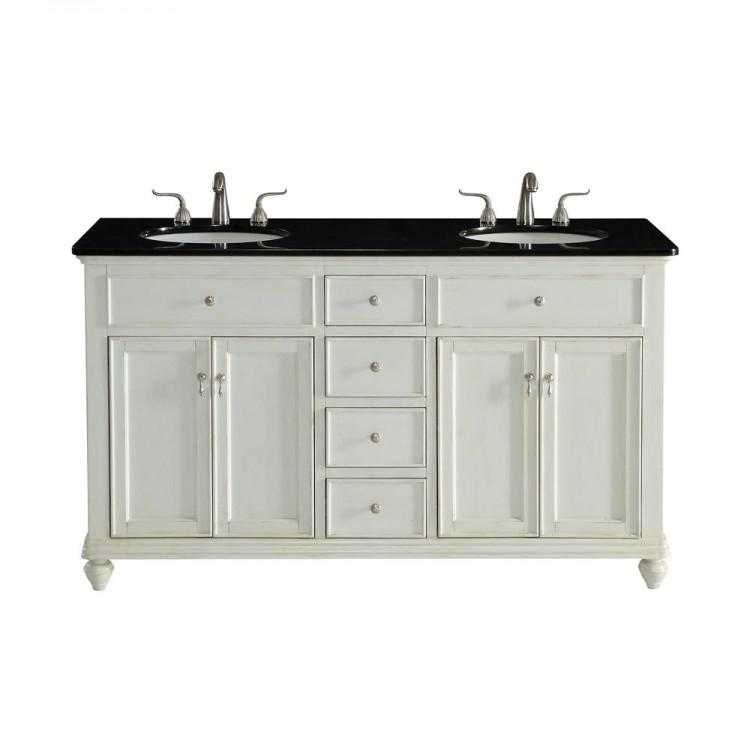 Elegant Decor VF12360DAW Otto 60 in. Double Bathroom Vanity set in Antique  White - Elegant Decor VF12360DAW Otto 60 In. Double Bathroom Vanity Set In