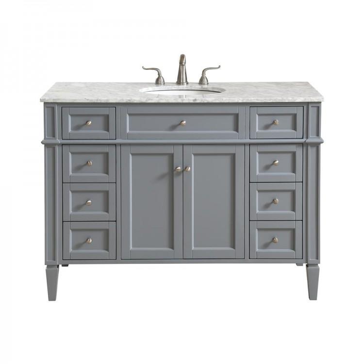 elegant decor vf12548gr park avenue 48 in single bathroom vanity set in grey - Single Bathroom Vanity