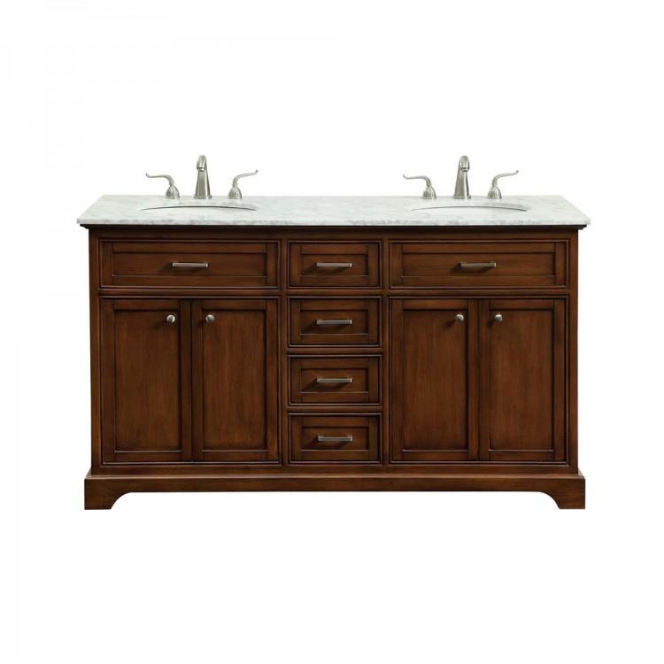 Elegant Decor VF15060DTK Americana 60 in. Double Bathroom Vanity set in Teak