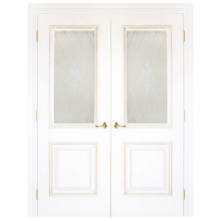 Nova Diana With Glass White Solid Wood Lacquered Classic Interior Door