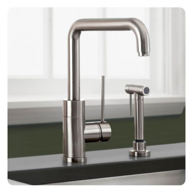 Pleasant Blanco 440601 Purus I Single Handle Kitchen Faucet With Side Spray In Satin Nickel Beutiful Home Inspiration Xortanetmahrainfo