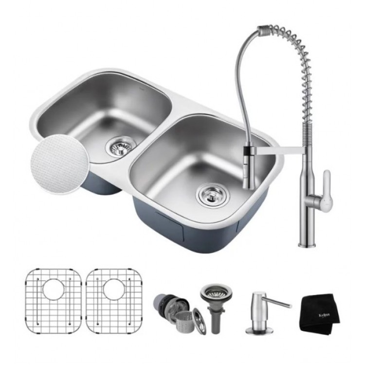 "Kraus KBU22E-1650-42 Outlast MicroShield 32 1/4"" Double Bowl Undermount Stainless Steel Kitchen Sink ..."
