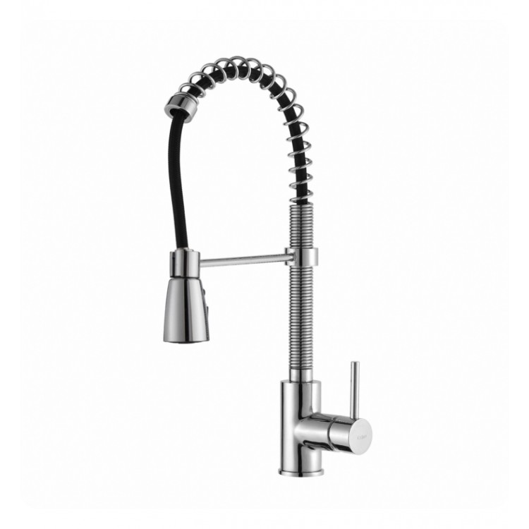 Kraus KPF-1612 Commercial-Style Single-Handle Kitchen Faucet with Pull Down  Three-Function Sprayer